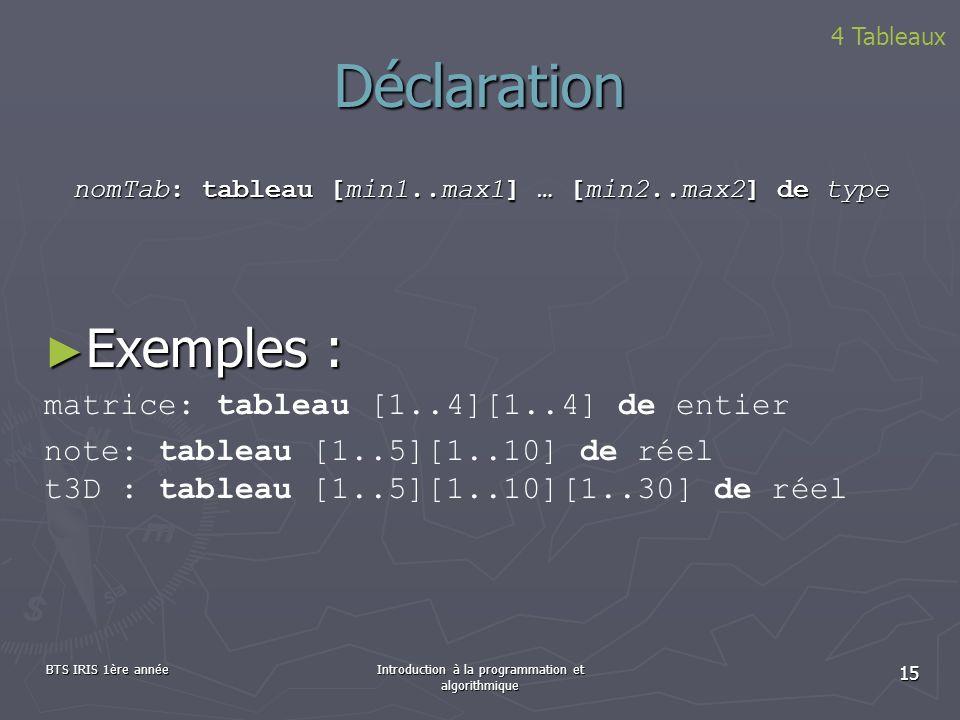 Déclaration Exemples : matrice: tableau [1..4][1..4] de entier